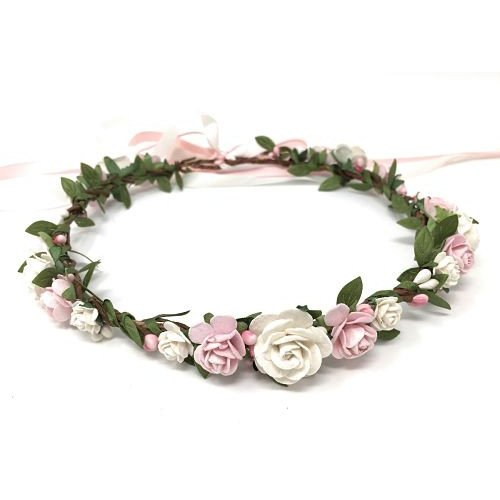 blush white wedding flower crown spring