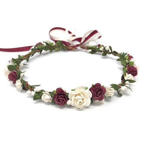 burgundy and antique white flower girl wedding crown