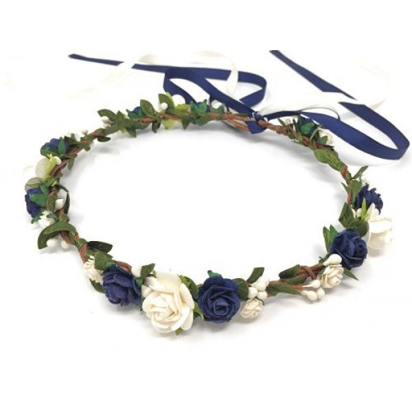 flower crown navy blue for wedding flower girl