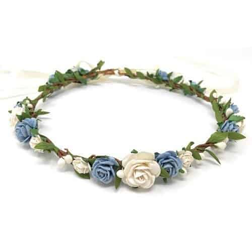 flower crown wedding bachellorette light blue