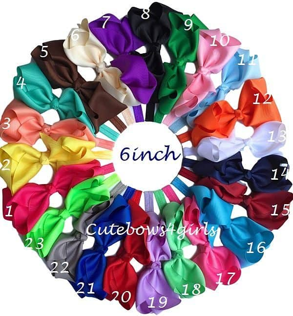 6 inches hair bows headbands