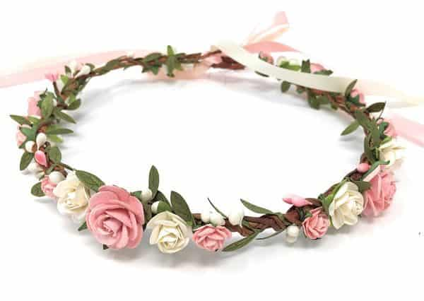 image 0 image 1 Pink and white flower crown, flower girl crown, flower crown adult, flower girl headband, flower heapiece, bridal crown, baby girl crown