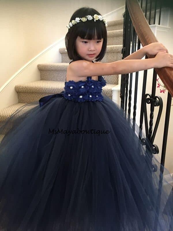 Navy flower girl dress, navy tulle dress, flower girl dress, navy tille dress girls, tutu dress flower girls, flower girl dress navy