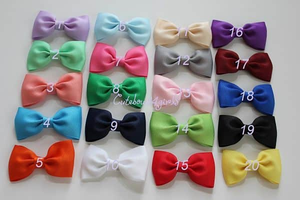 small hair bows, tie hair bows, simple hair bows, baby girl hair bows